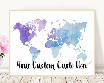 Custom map art etsy custom map printable custom map art watercolor map custom quote custom gumiabroncs Gallery