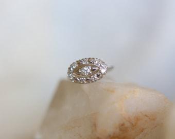 Vintage 14kt White Gold Diamond Ring Size 7 1/4
