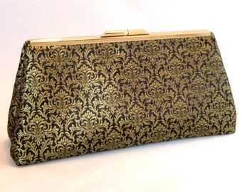 Black and Gold Purse ~ Gold Handbag ~ Gold Evening Clutch ~ Black Purse