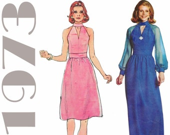 "Keyhole Neckline 1970s Evening Gown SIMPLICITY 6033 bust 32.5"" Retro Cocktail Dress 1970s Dress Pattern Cut Out Neckline Sheer Sleeves"