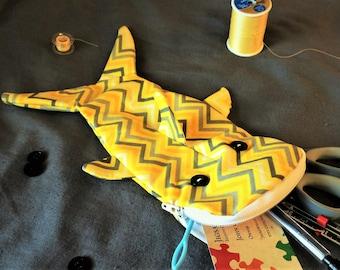 Shark bag- Yellow with gray chevron