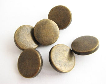 "Metal buttons with shanks, bronze metal buttons for denim, 18 mm - 11/16"" across"