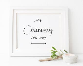 Wedding Ceremony This Way Arrow Sign, Charcoal and White Modern Leaf Printable Sign, Instant Download, Peach Perfect Australia