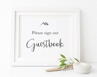 Please Sign Our Guestbook, Charcoal and White Modern Printable Wedding Sign, Instant Download, Peach Perfect Australia