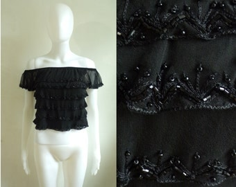40%offAug18-21 90s beaded silk crop top size xs 2, black tiered silk embroidered off shoulder cropped blouse, 1990s cache designer top