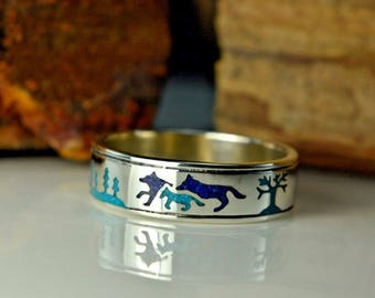 Sterling Silver Band Of Wolves Ring With Lapis Lazuli And Turquoise ~ Sizes 5.5 Through 15
