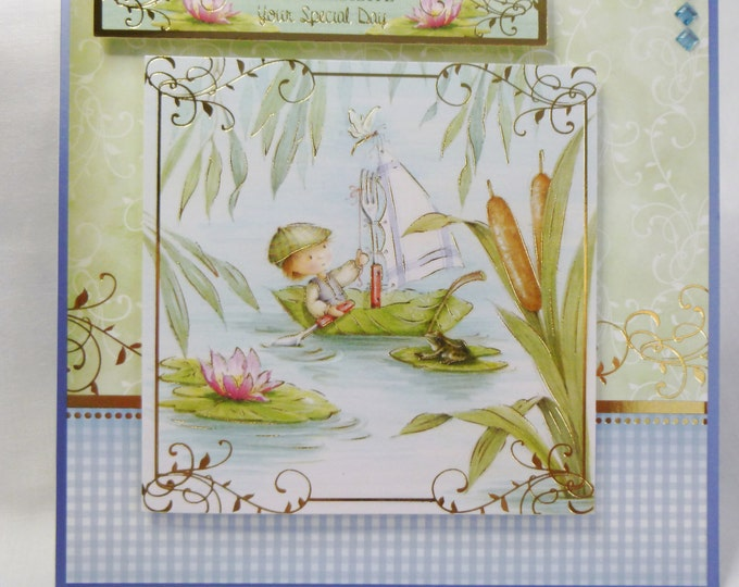 Birthday Card, Greeting Card, Children's Card, Boy, Fishing on a Lily Pond, Tent Shape Card, Any Age, Son, Brother, Nephew, Grandson
