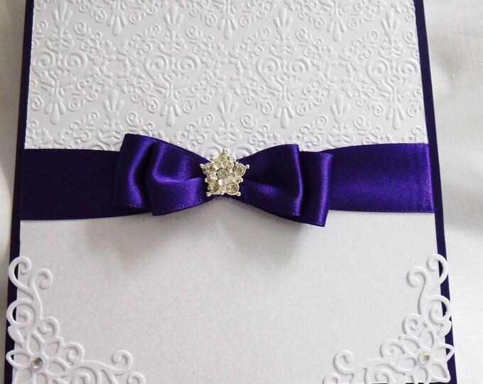 Wedding Day Card, Wedding Day Invitation, Party Invite, Celebration, Purple and White,