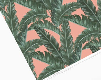 Tropical Pink Banana Leaf Patterned Wrapping Paper