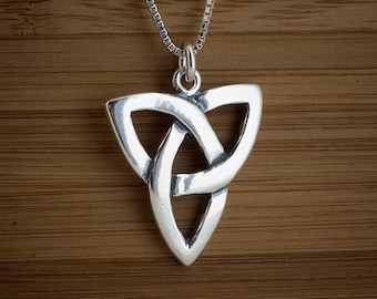 Celtic Trinity Knot Pendant -STERLING SILVER- Chain Optional