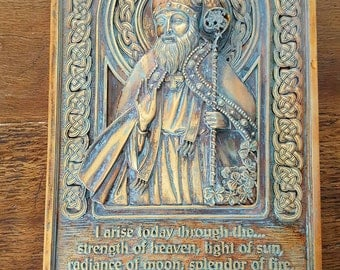 Medieval looking Saint Patricks Plaque....vintage....excellent condition