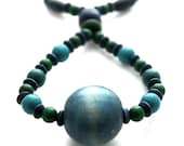 Fiddle necklace, babywearing necklace, nursing necklace, breastfeeding beaded necklace, unique, teal, blue and green