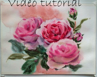 Watercolor tutorial 9 wet-on-wet roses