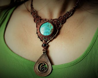 1001 Nights Chrysocolla pendant macrame necklace
