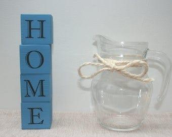 Handmade wooden letter blocks - HOME - house warming gift