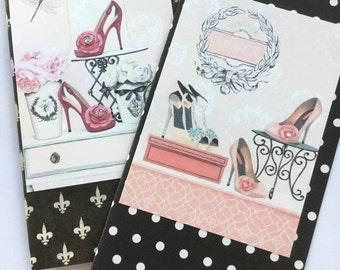 Traveler's Notebook Inserts/ Midori Insert / Faux Dori. Girls Vintage Shoe Designs with Rhinestones ALL SIZES. Paper Choice