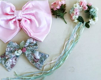 Vintage doll accessories, pink and green bows, Victorian rose accessory