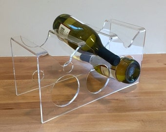 Fabulous Vintage Lucite Wine Rack | Mod Clear Wine Holder | Mid Century Modern Acrylic