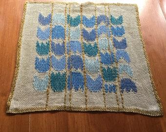 Small Handwoven Textile Klockargården Hemslöjd Sweden | Blue Tulips