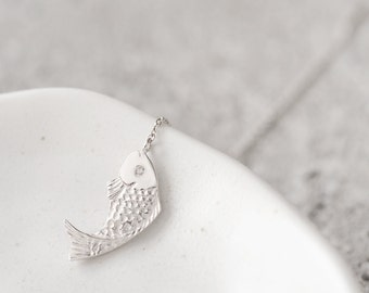 Carp Chain Single Earring 925 Sterling Silver Fish Charm