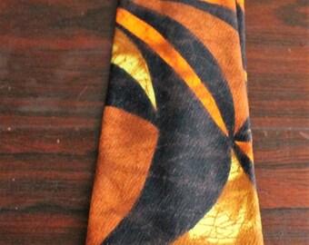 Vintage 1970s Wide Barkcloth Hawaiian Tie Mod Psychedelic Brown Orange Yellow