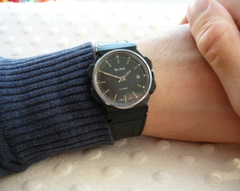 "USSR Vintage Slava ""Glory"" Soviet Russian Men's Watch with new strap Vintage men's watch  – black face watch – soviet mechanical   #271116"