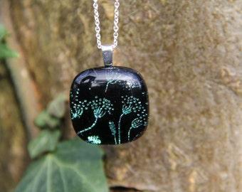 Flower seed head dichroic glass  pendant, dichroic glass necklace,  fused glass, fused glass pendant, dandelion necklace ,,  dichroic,