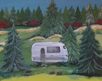 Original Acrylic on Wood Painting Trailer in the Woods