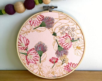 hand embroidered flowers, embroidery, floral, wedding gift, new home gift, hand stitched, wall art, embroidery hoop art, embroidery art
