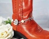 Bridal boot bracelet, Boot bracelet, Western bridal boot anklet, Pearl & rose boot bling, Cowgirl bridal boot bracelet, Wedding party gift
