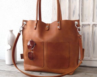 Large leather bag, Leather bag, Shoulder bag leather, Leather bag, Leather bag woman, Leather bag, Leather bag, Emma Frontpocket - cognac!