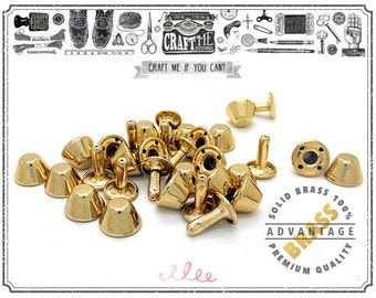 25 Sets 10MM Solid Brass Purse Feet Rapid Rivet Studs with Round Post Caps Leathercraft