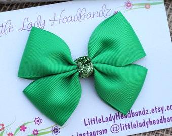 Green Bow Boutique Bow hair bow girls bow hair clip barrette