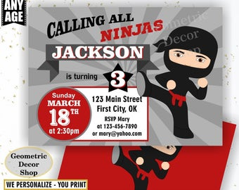 Ninja Birthday Invitation Boy American Ninja Invitations Red Gray Invites Black Grey Invite BDN3