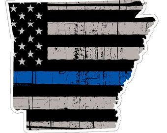 Arkansas State (V6) Thin Blue Line Vinyl Decal Sticker Car/Truck Laptop/Netbook Window