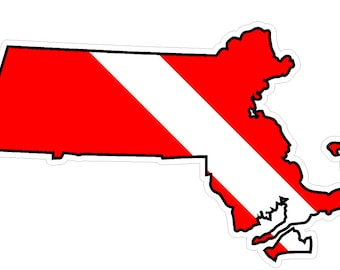Massachusetts State (B22) Diver Down Flag Yeti Tumbler Decal Sticker Laptop