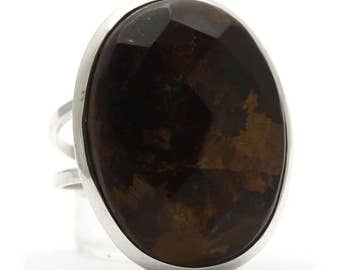 Bronzite Ring, 925 Sterling Silver, Unique only 1 piece available! SIZE 8.25 (inner diameter 18.33mm), color brown, weight 8.1g, #35244