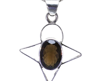 Smoky Quartz Pendant, 925 Sterling Silver, Unique only 1 piece available! color brown, weight 7.5g, #26180