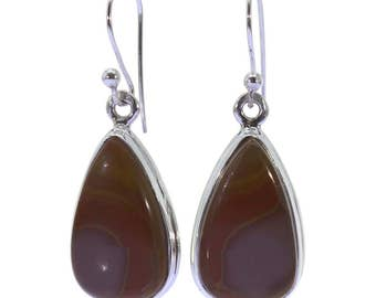 Mookaite Earrings, 925 Sterling Silver, Unique only 1 piece available! color brown, weight 4.9g, #37296