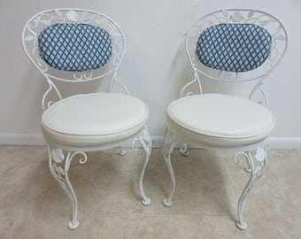Pair Vintage Woodard Wrought Iron Out Door Patio Dining Room Side Chairs A