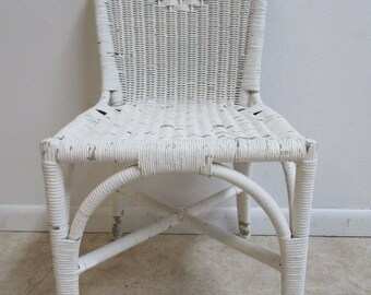 Antique Wicker Outdoor Patio Porch Desk Side Chair