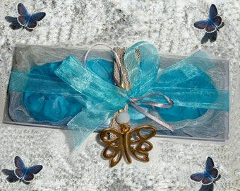 Blue Butterflies: Turquoise Gift for Her, Elegant Gift Set for women, Luxury Glycerin Blue Soaps, Grey-Gold Handmade Butterfly Necklace OOAK