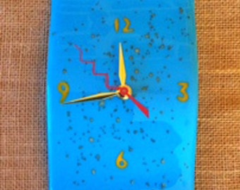 Small Abstract Wave fused glass wall clock