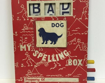 Vintage Spelling Box Toy/ Vintage School/Vintage Word Toy