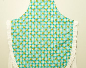 Children's teal blue bee apron