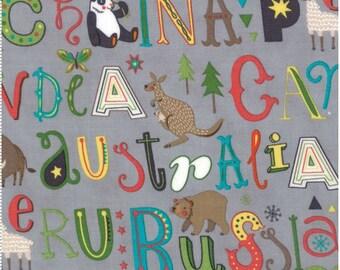 Roam - Grey - HELLO WORLD  - by Abi Hall for Moda Fabrics  - Childrens - Countries - Animals - 35302 19