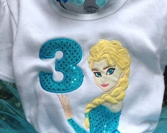 Frozen Elsa 3rd Birthday Shirt Personalized Turquoise White Yellow