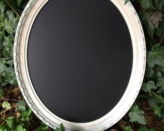 White gold oval chalkboard menu wedding menu