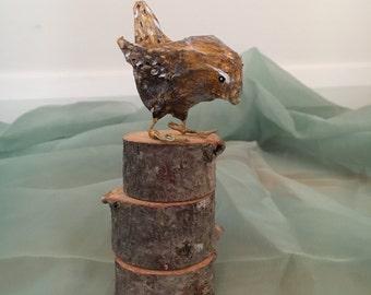 Paper mache animal / bird tiny Wren sculpture