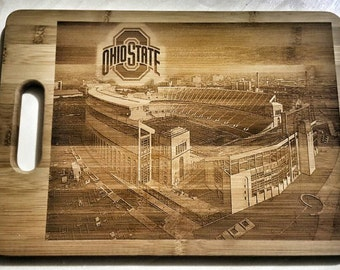 Ohio State Stadium Laser Engraved Bamboo Cutting Board & Cheese Board